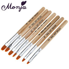 7pcs wooden Nail Art Acrylic UV Gel Tips Extension Builder Pen Brush tool