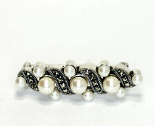 Judith Jack Sterling Silver Simulated Faux Pearl Marcasite Brooch