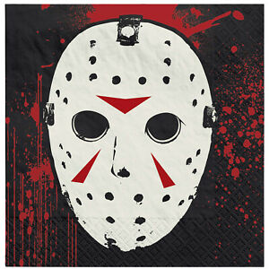 16 x Halloween Scary Friday the 13th Paper Party Beverage Canape Napkins 25cm
