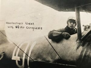 WWI German Air Ace Ernst Udet - Real Photographic Picture Postcard c.1918