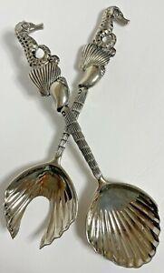 Serving Spoon and Fork Set by Godinger Vintage Silver Plated Seahorse Design