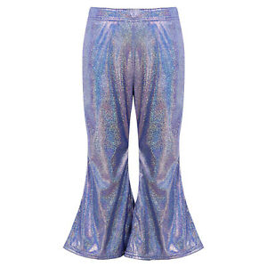 Boys Girls Casual Shiny Flare Pants Bell-Bottomed Sparkle Wide Leg Long Trouers