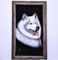 Vintage Black Velvet Dog Painting Art Akita Signed Framed Samoyed Siberian Husky