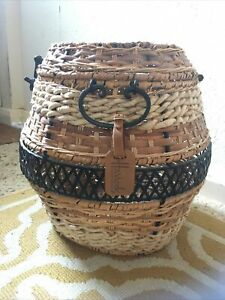 Wicker Woven Hamper With Metal Design And Handles Harrods Tag Round Basket
