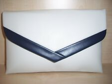OVER SIZED NAVY BLUE & WHITE envelope faux leather clutch bag, fully lined BN