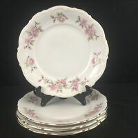 Set of 4 VTG Salad Plates Mitterteich Springtime Pink Floral Bavaria Germany