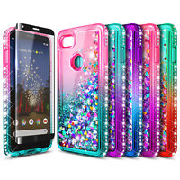 For Google Pixel 3 / 3 XL Case Liquid Glitter Bling Phone Cover + Tempered Glass