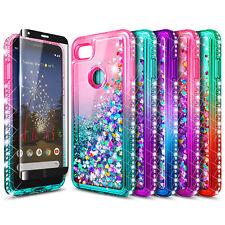 For Google Pixel 3 / 3 XL Case Liquid Glitter Bling Phone Cover + Tempered Glass