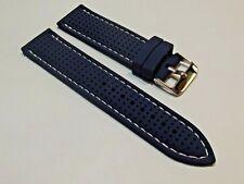 cinturino blu tropic di qualità silicone con cuciture 20 o 22mm mm watch strap
