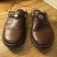 Minnetonka Moccasins 7.5M Mule Slip on Slide Clog Brown Leather Womens Shoe