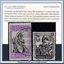 1928 Italia Regno Emanuele Filiberto Due alti valori Usati n 237/238 Certificato