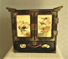 More details for antique vintage lacquered table top chinese altar cabinet. highly decorated.