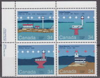 CANADA #1063-1066 34¢ Canadian Lighthouses UL Inscription Block MNH