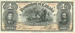 Canada $1 Dollar Dominion Currency Banknote 1898