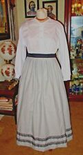 Civil War Dress~Frontier~Victorian Style-100% Cotton Gray Work/Camp Skirt