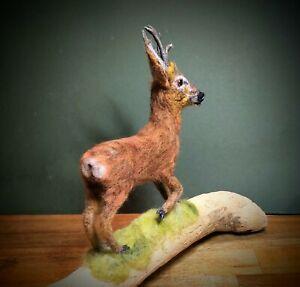 Needle Felted Roe Buck, Roe Deer, Animal Sculpture, Felted Deer
