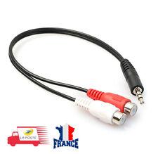 Câble adaptateur audio jack 3,5 mm stéréo mâle vers 2x RCA femelles 0,20 m noir