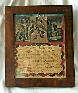 c.1797 Framed PENNSYLVANIA German TAUFSCHEIN FRAKTUR Collage BIRTH and BAPTISM.