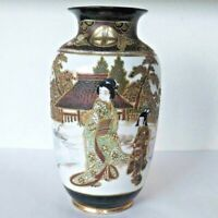 Japanese Antique Satsuma Porcelain Ware Vase Kimono Girl Meiji Antique Old Japan