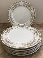 6 - Dinner Plates Vintage Kentfield & Sawyer Fine Porcelain Floral & Silver Trim