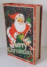 Retro Merry Christmas Santa Wooden Faux Book Storage Stash Gift Box 13 Inch