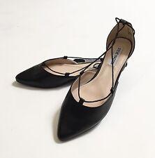 NWOB Steve Madden Sunshine Lace Up Ankle Tie Ballet Flats Shoes Size8 Black