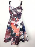Prabal Gurung Multicolour Patchwork Abstract Dress Flare Skater Wedding US4 UK8