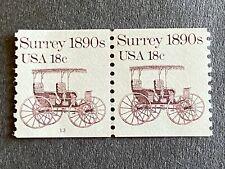 US Stamp 18¢ Surrey 1890's SC# 1907  Strip Coil Plate Number 13 MNH