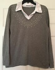 Quacker Factory Sz M Pearl Embellished Gray Top with Faux Blouse Under EUC