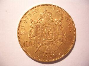 Frankreich 100 Francs Gold 1857 Napoleon III. Seltene Münze.
