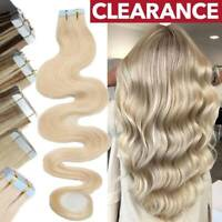 Wavy 8A Russian Tape In 100% Remy Human Hair Extensions Skin Weft CLEARANCE US