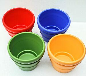 Terrakotta Übertopf farbig glasiert Ø13,5cm oder Ø15,5cm Blumentopf Keramiktopf