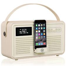 DAB+ Radio Bluetooth Portable Speaker Dock FM Alarm - Retro MK II by VQ - Cream