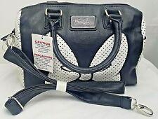 Disney Boutique Minnie Mouse Black White Faux Leather Satchel Nwt