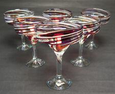 Mexican Glass, Margarita red white iridescent swirl, 15 oz., hand blown set of 6