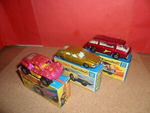 3 x Matchbox Superfast - #22,#30 & #56,All Mint In Original Boxes,NOS,1970's.