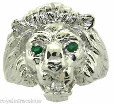 Mens Ring Lion Head Diamond & Emerald in Sterling Silver or Gold Plated Silver