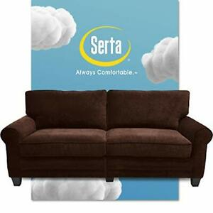 """Serta Copenhagen 73"""" Sofa - Pillowed Back Cushions and Rounded Arms, Brown."""