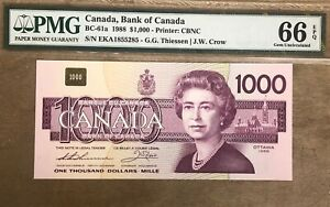 1988 Bank of Canada $1000 Banknote PMG Gem Uncirculated 66 EPQ - Cat#BC-61a