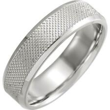 Sterling Silver Knurled Beveled Edge 6 MM Wedding Band