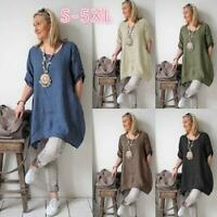 Women's Cotton Blouse Short Sleeve Boho Dress Loose Tunic Top Shirt  Plus Size
