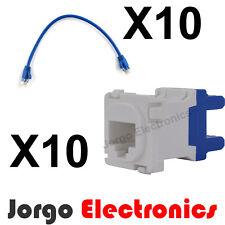 10 CLIPSAL COMPATIBLE CAT6 RJ45 Inserts & 10 Patch Cables 0.5m