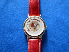 Merry Christmas Womans Watch Moving Dial Red Leather Band New Battery