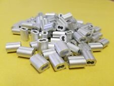 "100 Sleeve Ferrules 5/32"" Aluminum Cable Snare Wire Swage Line End Double Barrel"