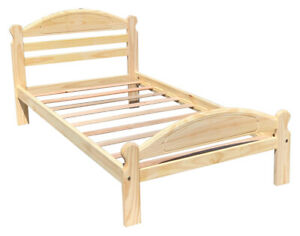 Solid Pine Twin Bed Single Wooden Bed Arizona Unfinished with Slats