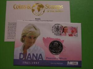 MERCURY BU COIN COVER 1998 BOSNIA 5 FIVE MARKA PRINCESS DIANA COIN . SEE POSTAGE