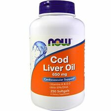 NOW Foods COD LIVER OIL 650 mg - 250 Softgels Vitamin A, D3, EPA, DHA