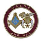 Mason Shriner Masonic Auto Emblem - [Burgundy & Gold][3'' Diameter]