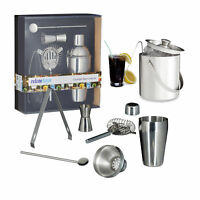 7 tlg Cocktail Mix-Set Shaker mit Abseiher Barsieb Marmaß Eiseimer Zange Löffel