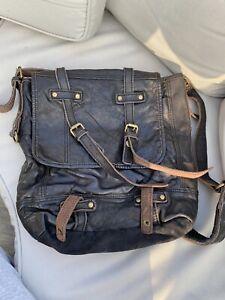 Distressed Leather Vintage Cross Body Bag Black Unisex